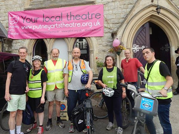 Happy volunteers stood outside Putney Arts Theatre